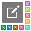 Editbox square flat icons - Editbox flat icon set on color square background.