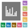 Sound bars square flat icons - Sound bars flat icon set on color square background.