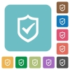 Flat active shield icons - Flat active shield icons on rounded square color backgrounds.