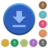 Embossed download buttons - Set of round color embossed download buttons