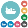 Flat sea transport icons - Flat sea transport icon set on round color background.