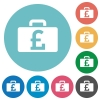 Flat pound bag icons - Flat pound bag icon set on round color background.