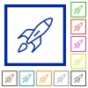 Launched rocket framed flat icons - Set of color square framed Launched rocket flat icons