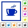Cappuccino framed flat icons - Set of color square framed cappuccino flat icons