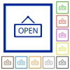 Open sign framed flat icons - Set of color square framed Open sign flat icons