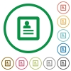 User profile outlined flat icons - Set of User profile color round outlined flat icons on white background