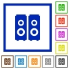 Speakers framed flat icons - Set of color square framed speakers flat icons
