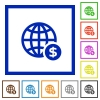 Online dollar payment framed flat icons - Set of color square framed Online dollar payment flat icons