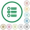 Radio group outlined flat icons - Set of Radio group color round outlined flat icons on white background