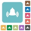 Flat ringing bell icons - Flat ringing bell icons on rounded square color backgrounds.