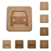 Car wooden buttons - Set of carved wooden car buttons in 8 variations.