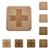 Plus sign wooden buttons - Set of carved wooden plus sign buttons in 8 variations.