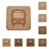Bus wooden buttons - Set of carved wooden bus buttons in 8 variations.