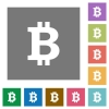 Bitcoin sign square flat icons - Bitcoin sign flat icon set on color square background.