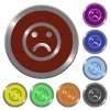 Set of color glossy coin-like Sad emoticon buttons. - Color Sad emoticon buttons