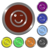 Set of color glossy coin-like Winking emoticon buttons. - Color Winking emoticon buttons
