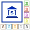 Dollar bank framed flat icons - Set of color square framed Dollar bank flat icons