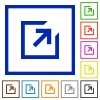 Export framed flat icons - Set of color square framed export flat icons
