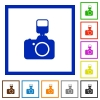Camera with flash framed flat icons - Set of color square framed Camera with flash flat icons
