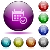 Calendar check glass sphere buttons - Set of color Calendar check glass sphere buttons with shadows.