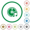 Audio CD outlined flat icons - Set of Audio CD color round outlined flat icons on white background