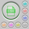 CSV file format push buttons - Set of color CSV file format sunk push buttons.