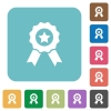 Flat award icons - Flat award icons on rounded square color backgrounds.