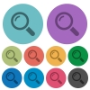 Color magnifier flat icons - Color magnifier flat icon set on round background.