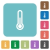 Flat thermometer icons - Flat thermometer icons on rounded square color backgrounds.