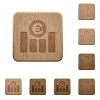 Euro graph wooden buttons - Set of carved wooden Euro graph buttons in 8 variations.
