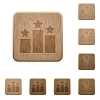 Set of carved wooden Ranking buttons in 8 variations. - Ranking wooden buttons
