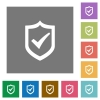 Active shield square flat icons - Active shield flat icon set on color square background.