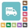 Flat free shipping icons - Flat free shipping icons on rounded square color backgrounds.