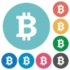 Flat Bitcoin sign icons - Flat Bitcoin sign icon set on round color background.