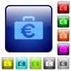Color Euro bag square buttons - Set of Euro bag color glass rounded square buttons