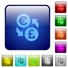 Color Euro Pound exchange square buttons - Set of Euro Pound exchange color glass rounded square buttons