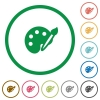 Paint outlined flat icons - Set of paint color round outlined flat icons on white background