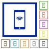 Cellphone with wireless symbol framed flat icons - Set of color square framed cellphone with wireless symbol flat icons