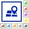Map location framed flat icons - Set of color square framed map location flat icons