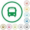 Bus outlined flat icons - Set of bus color round outlined flat icons on white background