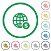 Online Dollar payment outlined flat icons - Set of Online Dollar payment color round outlined flat icons on white background