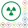 Radiation outlined flat icons - Set of radiation color round outlined flat icons on white background