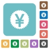 Flat Yen sticker icons - Flat Yen sticker icons on rounded square color backgrounds.