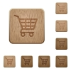 Shopping cart wooden buttons - Set of carved wooden Shopping cart buttons in 8 variations.