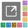 Maximize window flat icon set on color square background. - Maximize window square flat icons