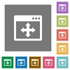 Move window square flat icons - Move window flat icon set on color square background.