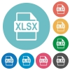 Flat XLSX file format icons - Flat XLSX file format icon set on round color background.