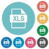 Flat XLS file format icons - Flat XLS file format icon set on round color background.