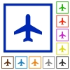 Airplane framed flat icons - Set of color square framed airplane flat icons