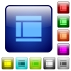 Color Two columned web layout square buttons - Set of Two columned web layout color glass rounded square buttons